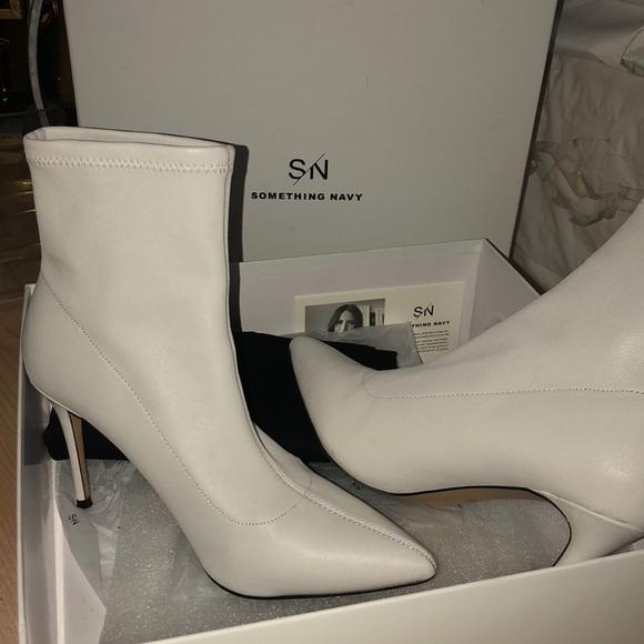 Something Navy White Sock Booties